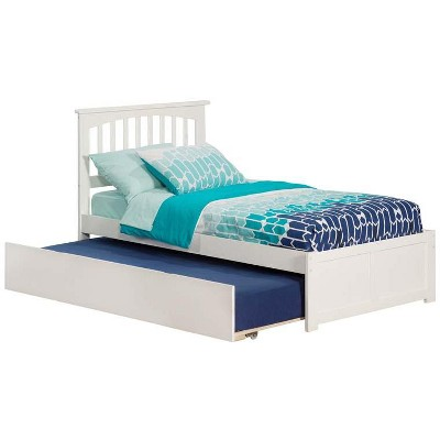 Mission Twin Flat Panel Foot Board w/ Urban Trundle White - Atlantic Furniture