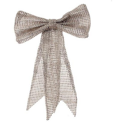 """Raz Imports 13"""" Glamour Time Champagne Rhinestone Mesh Bow Commercial Size Christmas Ornament - image 1 of 1"""