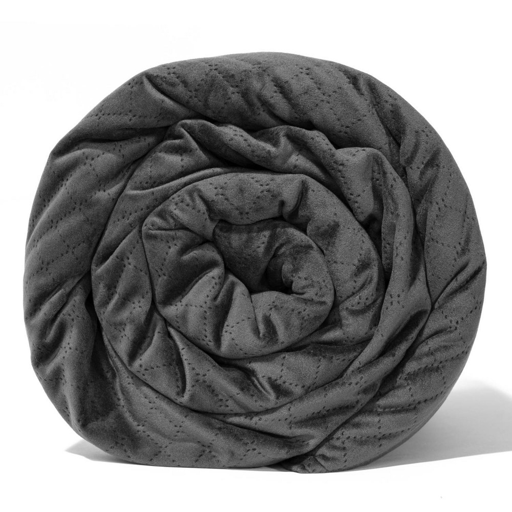 """Image of """"48"""""""" x 74"""""""" Quilted Microfiber 15lbs Weighted Blanket Charcoal - BlanQuil"""""""