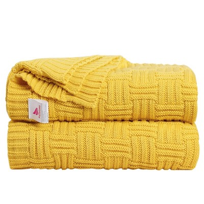 1 Pc Throw Cotton Knitted Bed Blankets Yellow  - PiccoCasa