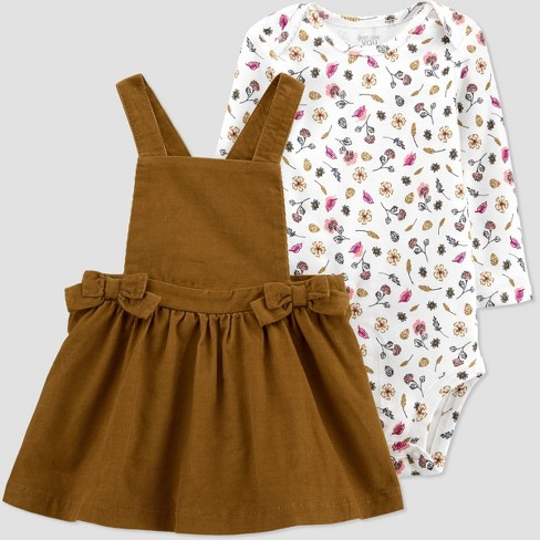 Baby Girls' Bows Skirtall Top & Bottom Set - Just One You® made by carter's Brown - image 1 of 4