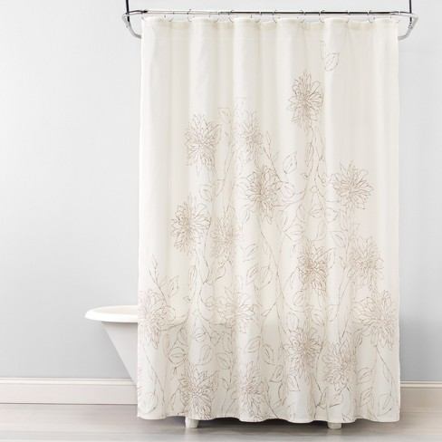 Linework Floral Shower Curtain Silver Mink