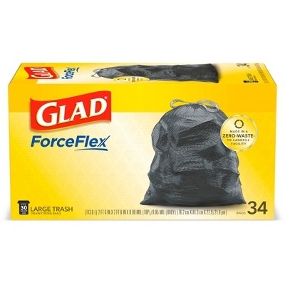 Glad Large Drawstring Trash Bags - 30 Gallon