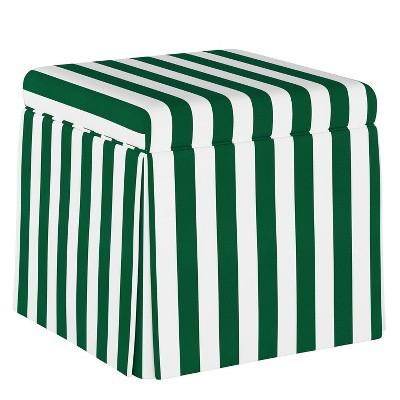 Skirted Storage Ottoman Canopy Stripe Emerald - Skyline Furniture