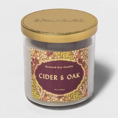 15.1oz Lidded Glass Jar 2-Wick Cider and Oak Candle - Opalhouse™