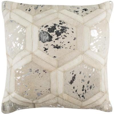 Maggie Metallic Cowhide Pillow  - Safavieh