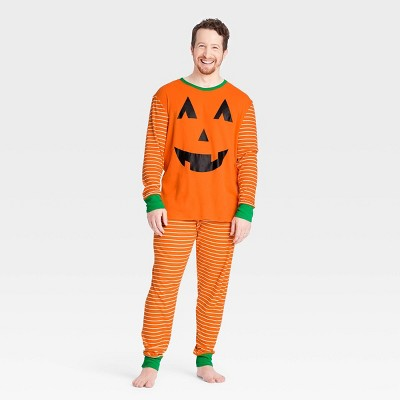 Men's Halloween Pumpkin Matching Family Pajama Set - Orange