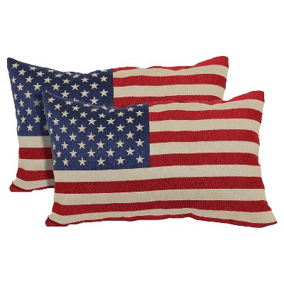 Red American Flag Toss Throw Pillow 2 Pack (13 x21 )- Brentwood