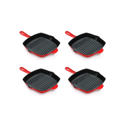 NutriChef 4 x NCCIES47 11 Inch Square Nonstick Cast Iron Skillet Griddle Grill Pan with Porcelain Enamel Coating, and Side Pour Spouts, Red (4 Pack)