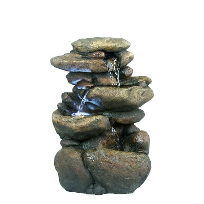 Alpine Corporation 11  Tiered Rock Tabletop Fountain With LED Lights - Bronze