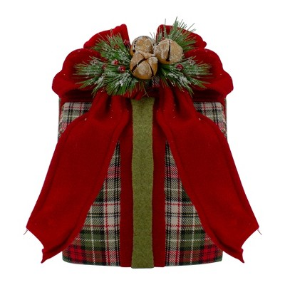 """Northlight 9"""" Red and Green Plaid Christmas Present Decoration with Bow"""