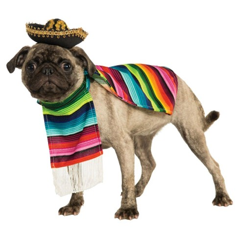 Poncho and Sombrero Dog Costume - Green/Blue/Red - image 1 of 1