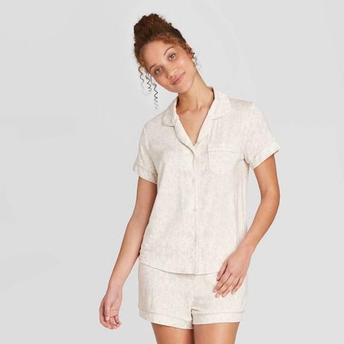 Women's Snakeskin Print Beautifully Soft Short Sleeve Notch Collar and Short Pajama Set - Stars Above™ Cream - image 1 of 2