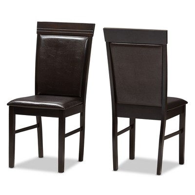 Set Of 2 Thea Modern And Contemporary Faux Leather Upholstered Dining Chairs Dark Brown Baxton Studio Target