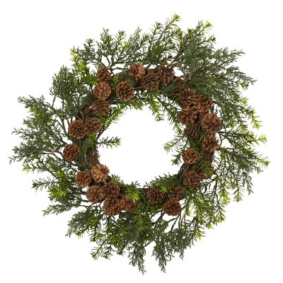 "Nearly Natural 22"" Indoor/Outdoor Cedar Grass and Pine Cone Artificial Wreath"