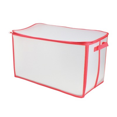 """Northlight 21"""" White and Red Holiday Collections Solid Zip Up Christmas Storage Bag"""