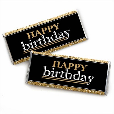 Big Dot of Happiness Adult Happy Birthday - Gold - Candy Bar Wrappers Birthday Party Favors - Set of 24