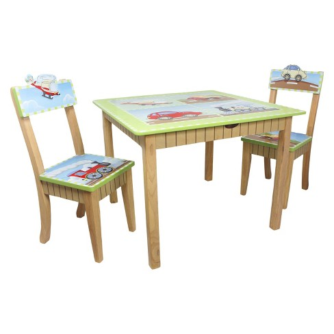 3 Piece Fantasy Fields Transportation Table and Chairs Set Wood - Teamson - image 1 of 12