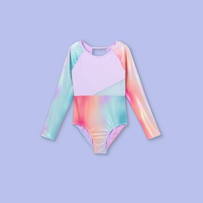 Girls' Iridescent Rainbow Gymnastics Long Sleeve Leotard - More Than Magic™