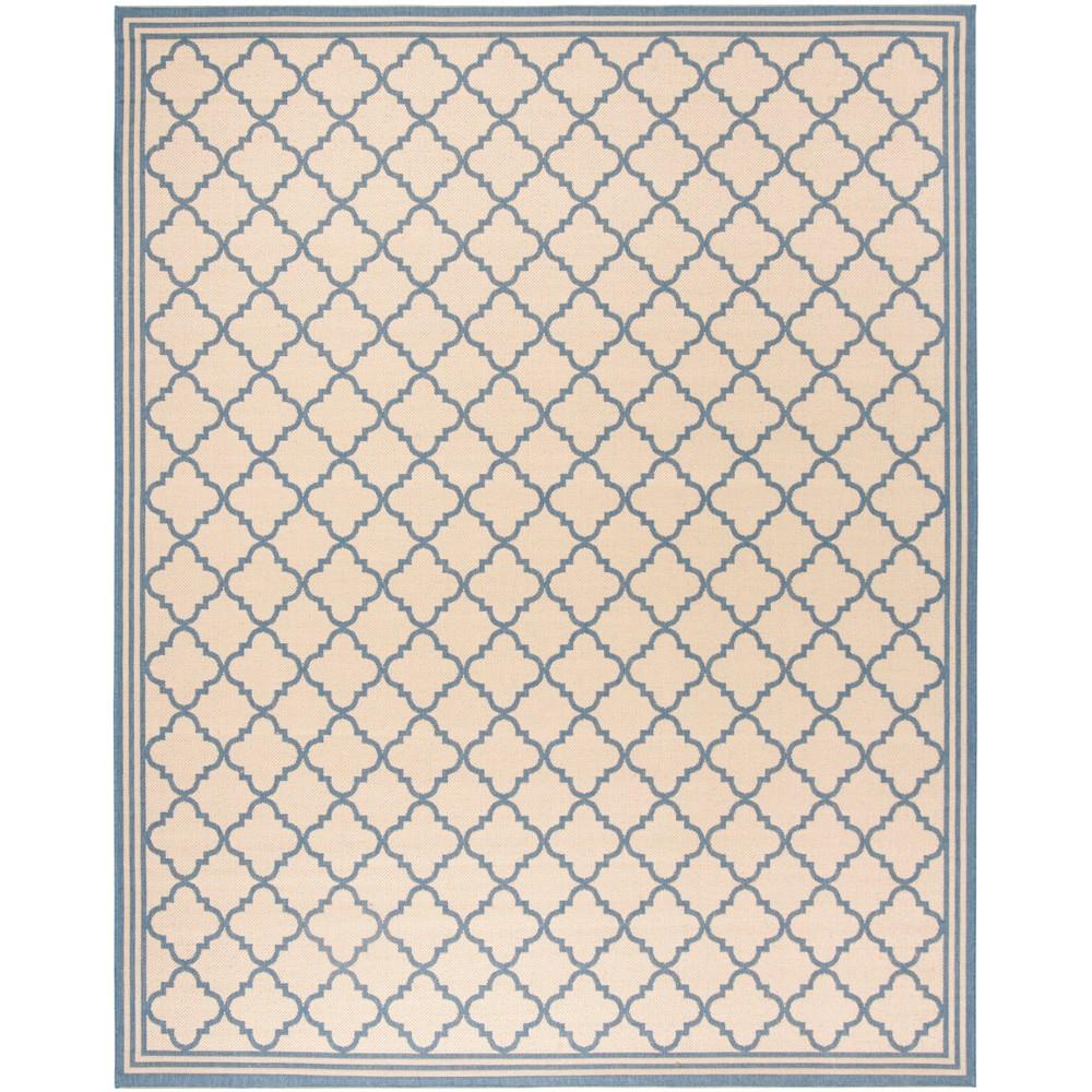 8'X10' Quatrefoil Design Loomed Area Rug Cream/Blue (Ivory/Blue) - Safavieh