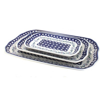 Blue Rose Polish Pottery Blue Violet 3 Piece Rectangular Serving Tray Set