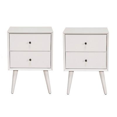 Alpine Furniture Flynn Mid Century Modern Bedside Nightstand, White (2 Pack)