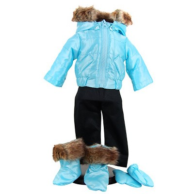 The Queen's Treasures 18 Inch Ski Wear Doll Clothes Outfit, 6pc Zippered Jacket, Pants, Gloves, Boots