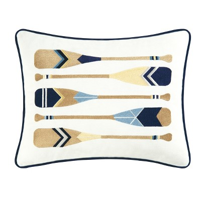 C&F Home 12'' x 16'' Oars Blue Cotton Embroidered Pillow