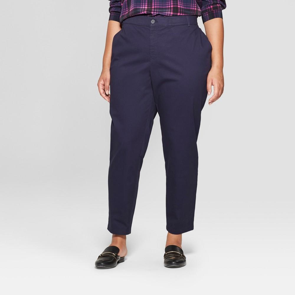 Women's Plus Size Chino Pants - Ava & Viv Navy (Blue) 22W