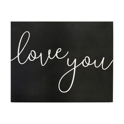"""Love you"" Oversized Wall Art Black - Stratton Home Decor"