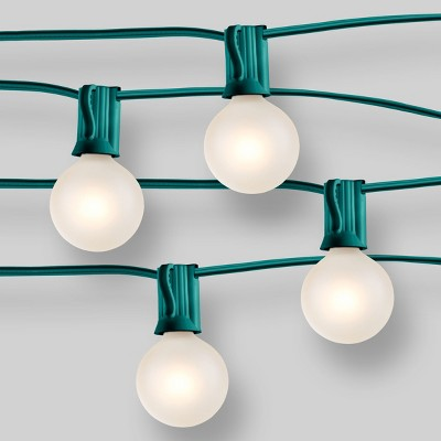 20ct Outdoor String Lights G40 Frosted White Bulbs - Green Wire - Room Essentials™