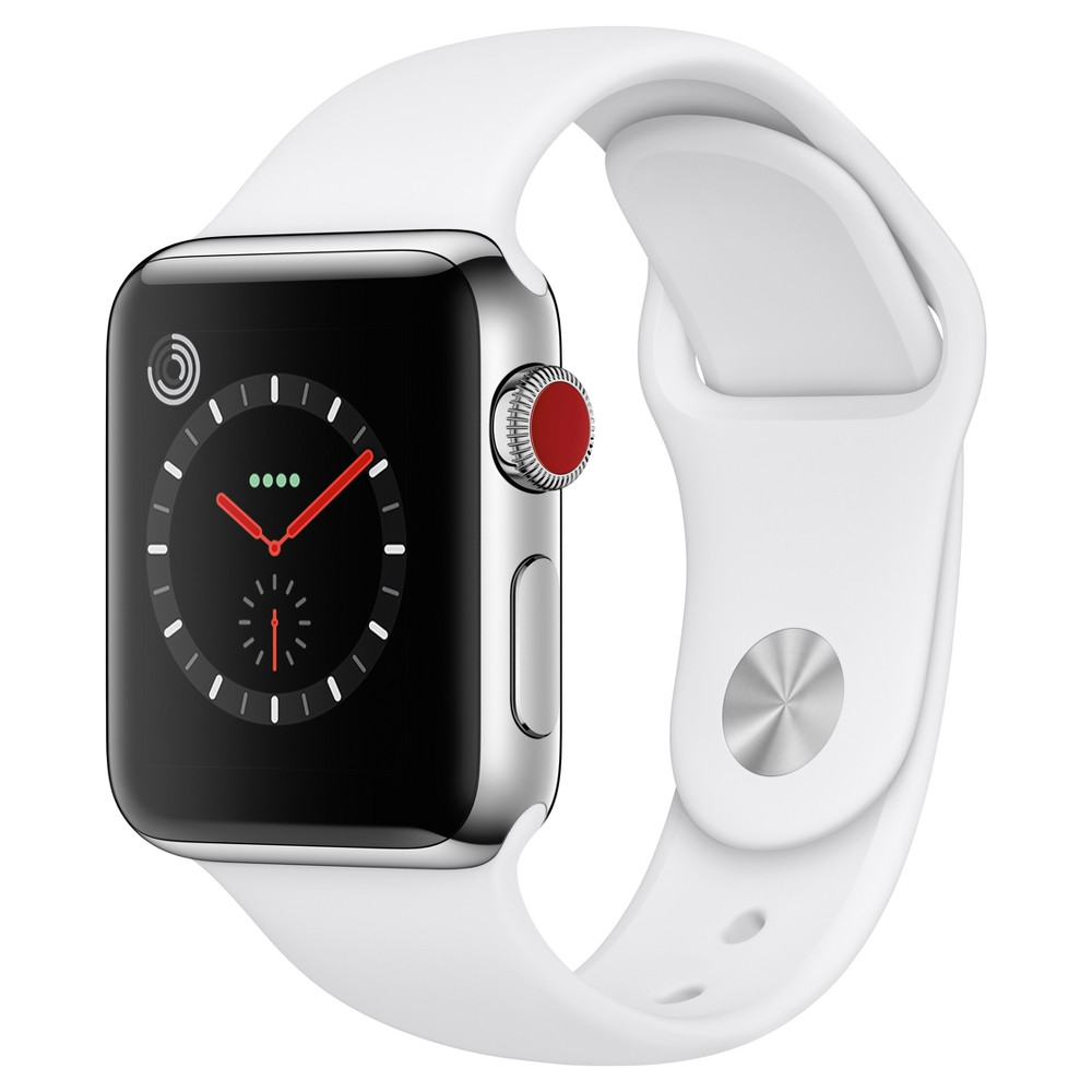 Apple Watch Series 3 38mm (GPS + Cellular) Stainless Steel Case Sport Band - Soft White, Gray