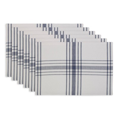 6pk Cotton Home Sweet Farmhouse Placemats Blue - Design Imports