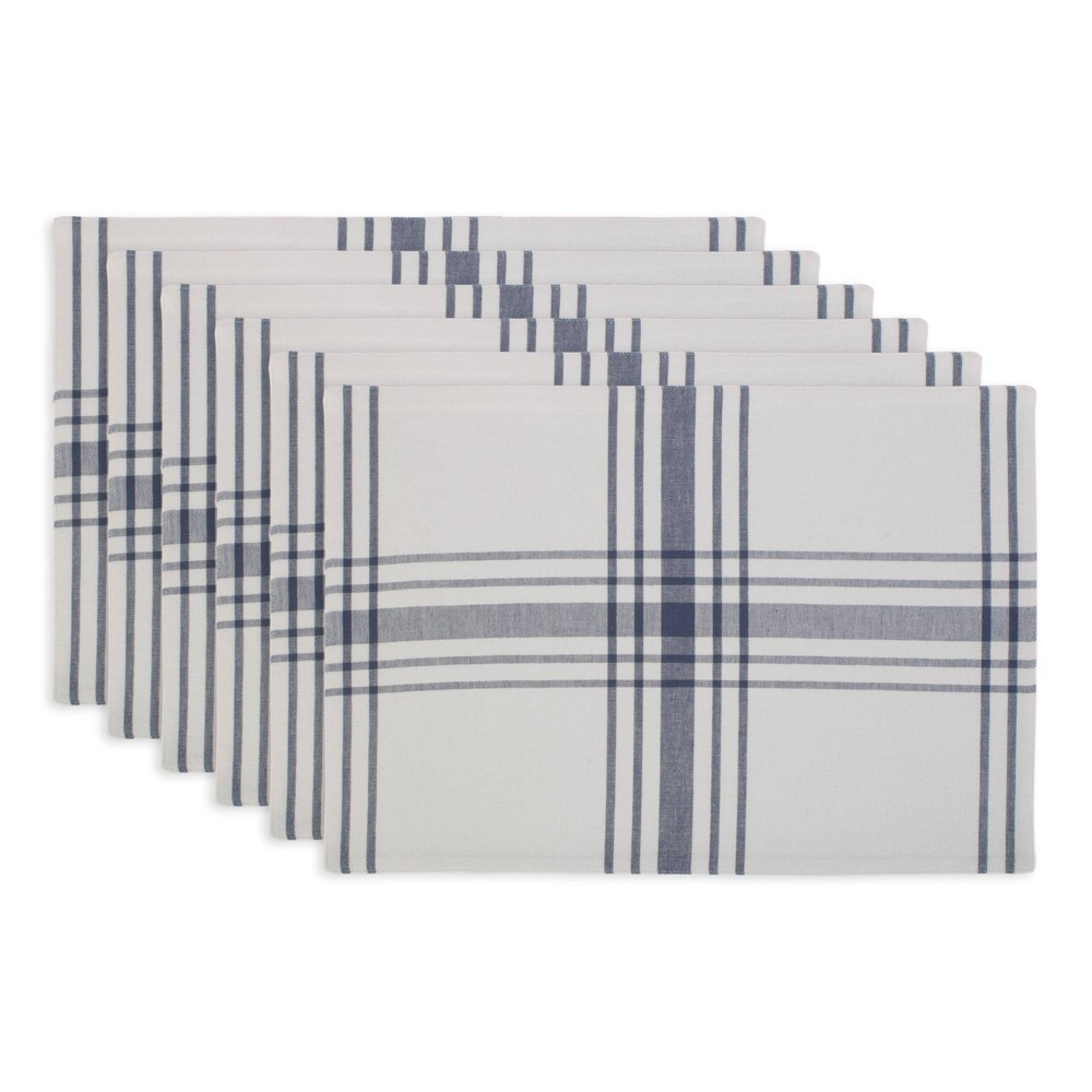 Image of 6pk Cotton Home Sweet Farmhouse Placemats Blue - Design Imports