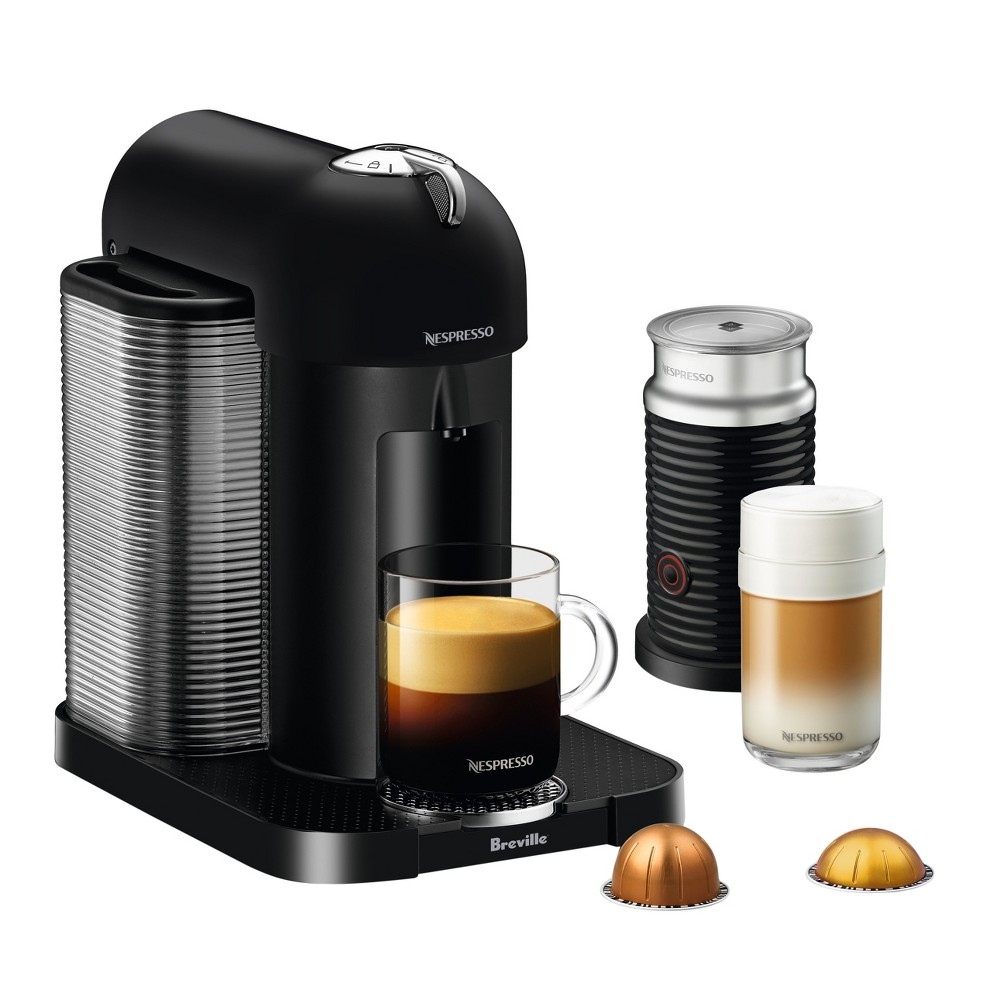 Nespresso Vertuo Black Matte Bundle by Breville, Matte Black Nespresso provides convenience and simplicity with its single-serve coffee system. Offering freshly brewed Coffee with crema as well as delicious, authentic Espresso, the Vertuo machine conveniently makes two cup sizes, 8 fl. oz. Coffee and 1.35 fl. oz. Espresso, at the touch of a button. Vertuo single-serve coffee makers deliver a perfect cup of coffee time after time, thanks to Centrifusion, a patented extraction technology developed by Nespresso. Color: Matte Black.