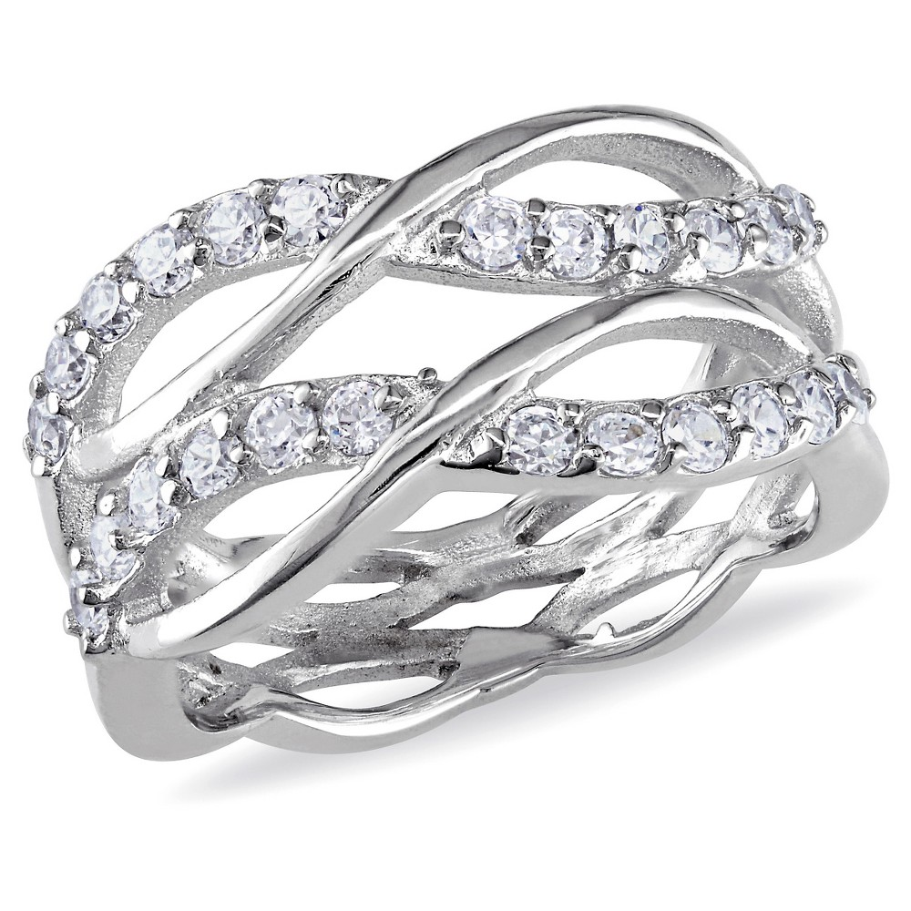 Best Discount 108 CT TW Cubic Zirconia Crisscross Ring In Sterling Silver 9 White