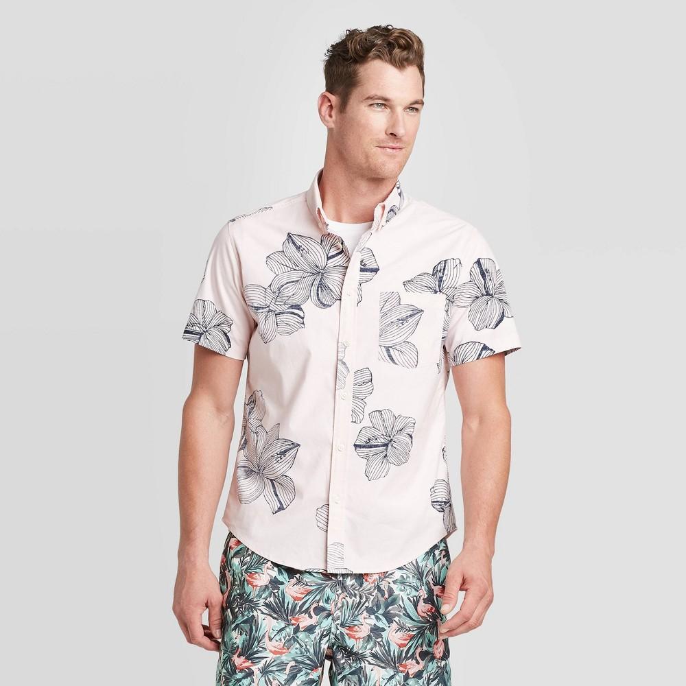 Men's Standard Fit Floral print Short Sleeve Poplin Button-Down Shirt - Goodfellow & Co Pink 2XL was $19.99 now $12.0 (40.0% off)