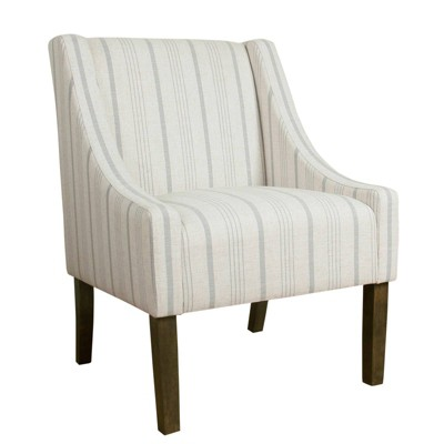 Fabric Upholste Wooden Accent Chair with Stripe Pattern - Benzara