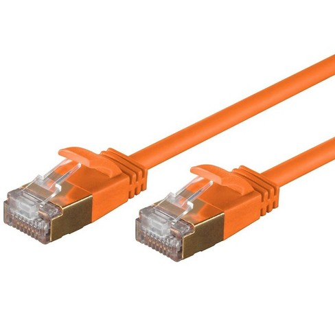 Monoprice SlimRun Cat6A Ethernet Patch Cable - Network Internet Cord - RJ45, Stranded, STP, Pure Bare Copper Wire, 36AWG, 10ft, Orange - image 1 of 4