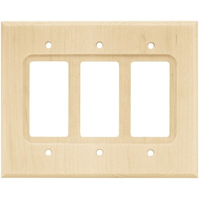 Franklin Brass Square Triple Decorator Wall Plate Unfinished Wood Brown