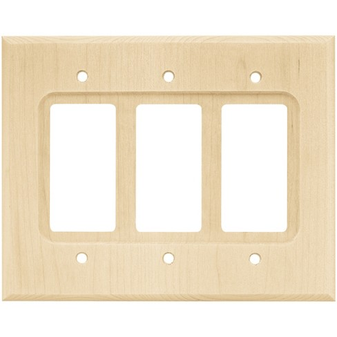 Wood Square Triple Decorator Wall Plate Unfinished Franklin Br