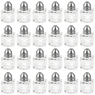 Juvale 24-Piece Square Glass Mini 0.5oz Salt and Pepper Shakers Dispenser, Clear