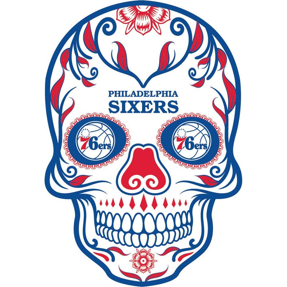 NBA Philadelphia 76ers Small Outdoor Skull Decal
