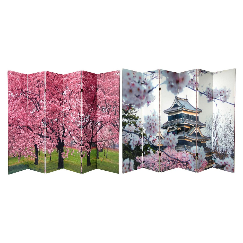 6 ft. Tall Double Sided Cherry Blossoms Canvas Room Divider 6 Panel - Oriental Furniture, Multi-Colored