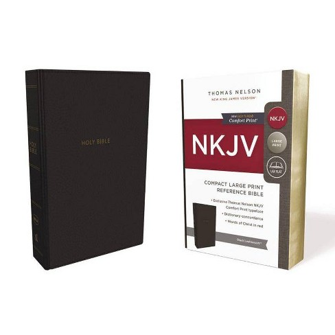 NKJV, Reference Bible, Compact Large Print, Imitation Leather, Black, Red Letter Edition, Comfort Print - image 1 of 1