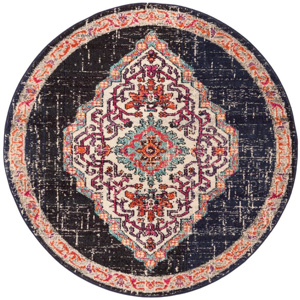5' Medallion Round Area Rug Black/Blue - Safavieh