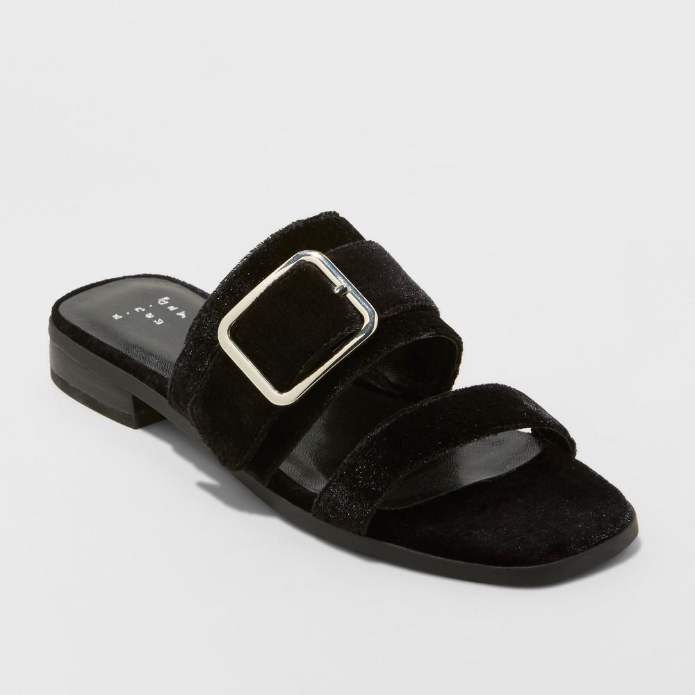 Women's Metzy Velvet Slide Sandals - A New Day Black 5.5