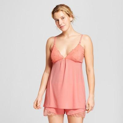 Women's Nursing Lace Trim Pajama Set - Gilligan & O'Malley™ Pom Pom Pink XS