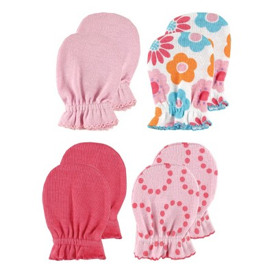 Luvable Friends Baby Girl Cotton Scratch Mittens 4pk, Pink Solid, One Size