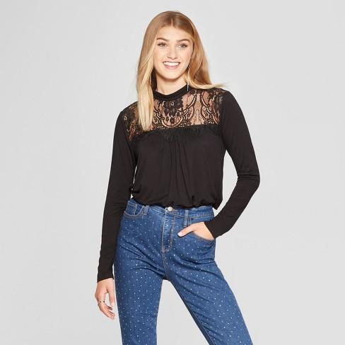 cd9049cd8ab Women s Long Sleeve Lace Top High Neck Knit Top - Xhilaration™   Target